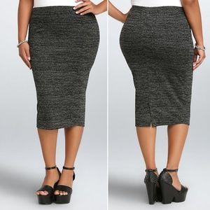 NEW Torrid marled knit midi fitted pencil skirt 3x